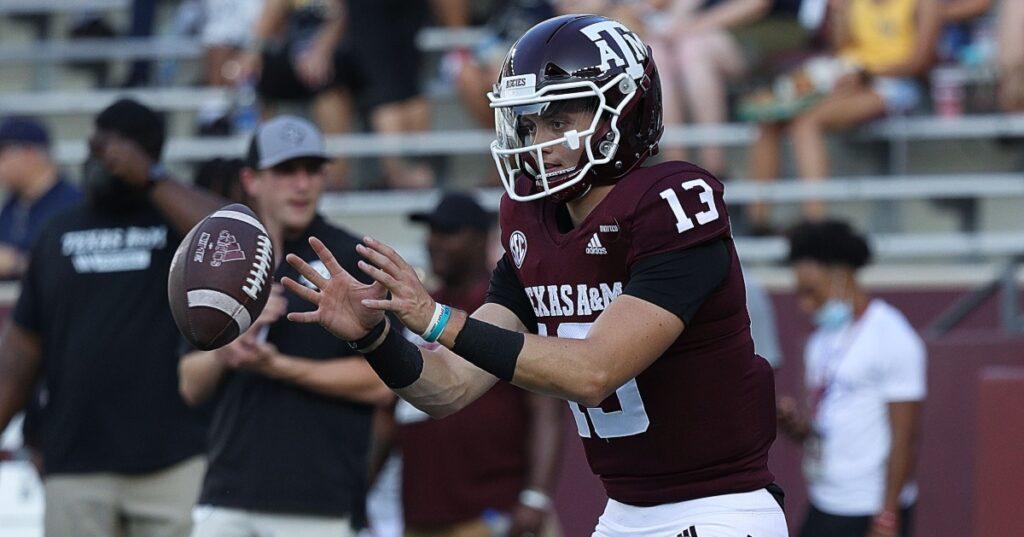 watch-texas-a&m-quarterback-haynes-king-throws-first-touchdown-pass-kent-state-jimbo-fisher